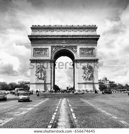 Paris, France - Triumphal Arch. Black and white photo.