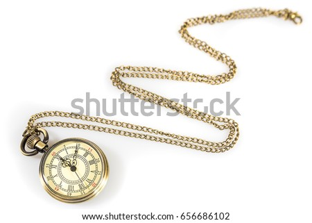 Vintage Watch Pendant Necklace Isolated On White Background #656686102