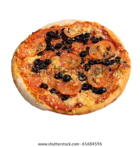 pizza with tomatoes, olives and cheese with meat #65684596