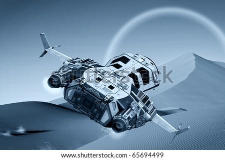 spaceship flying on cool desert #65694499