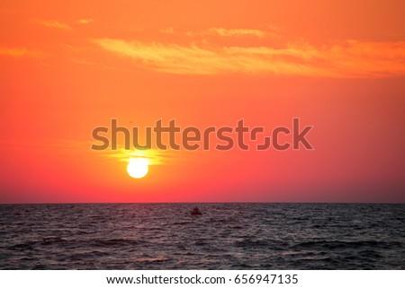 Dawn at sea. Sea of Azov, Ukraine #656947135