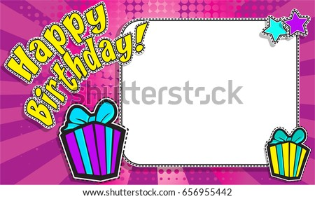"""Pop Art Style design Postcard, Horizontal frame greeting card. """"Happy Birthday!"""" sign Invitation card. Vector Illustration. with a white empty space inside for your text or image."""