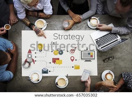 Workers working on banner network graphic overlay on table #657035302