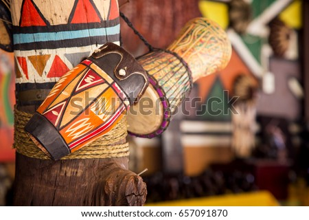 Traditional handmade drums for sale at Lesedi Cultural Village, South Africa, Royalty-Free Stock Photo #657091870