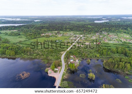 Aerial view of a forest lake #657249472