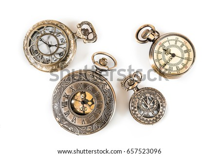 Vintage Clock Watch Pendant Collection Isolated On White Background #657523096