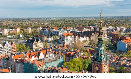 GDANSK, POLAND - May 07 2017: Aerial panoramic view of Gdansk #657669868