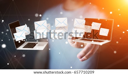 Businessman on blurred background receiving e-mails on his digital devices 3D rendering #657710209