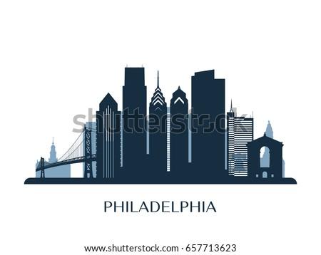 Philadelphia skyline, monochrome silhouette. Vector illustration.