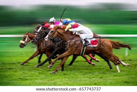 Race horses with jockeys on the home straight. Shaving effect. Royalty-Free Stock Photo #657743737