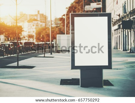 Vertical mock-up of city poster with thick edges, blank white billboard in urban settings, empty street information placeholder on sidewalk with copy space for logo, advertising or your messages