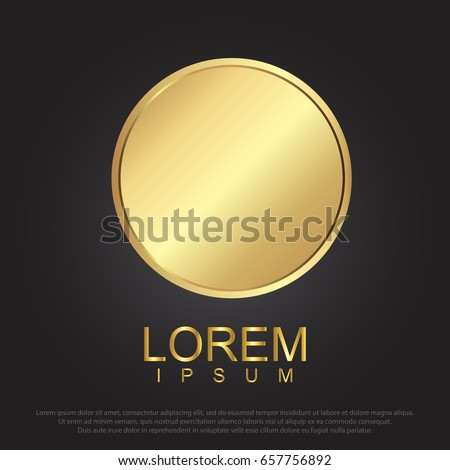 Gold circle, Realistic metal button with circular processing. vector illustration eps 10. #657756892
