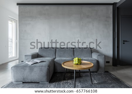 Living room with gray sofa and round coffee table Royalty-Free Stock Photo #657766108
