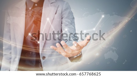 Businessman hand showing virtual graph on the screen map point, network connection, business concept with copy space #657768625