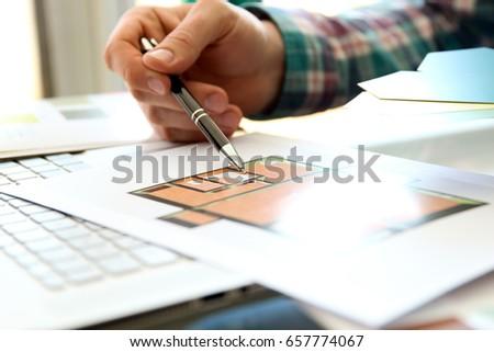 designerr  choosing color samples for design project. #657774067