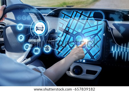 futuristic vehicle and graphical user interface(GUI). intelligent car. connected car. Internet of Things. Heads up display(HUD). #657839182