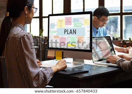 Woman working on computer network graphic overlay #657840433