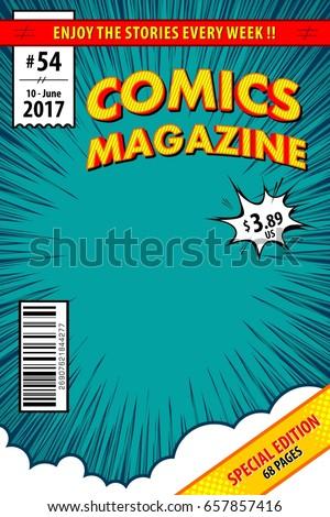 Comic book cover. Vector illustration.