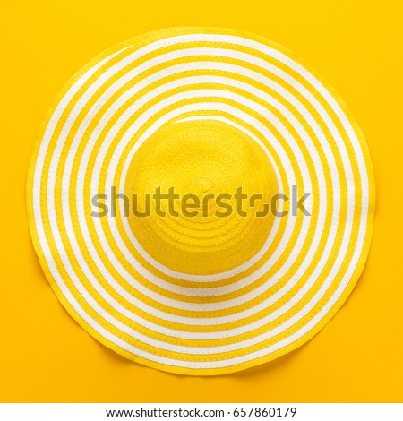 top view of yellow striped retro hat close-up. summer concept #657860179