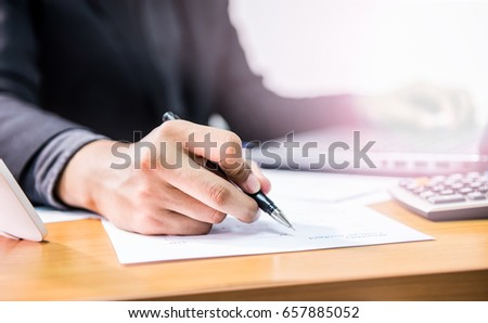 businessman with signature sign, business and working in office #657885052