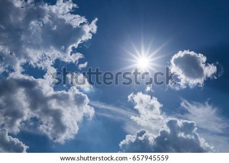 sun light on dramatic moody sky with cloud #657945559