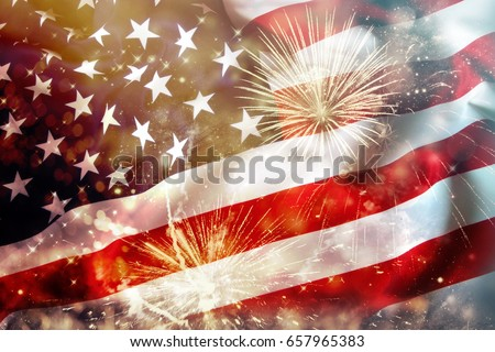 Celebrating Independence Day. United States of America USA flag with fireworks background for 4th of July Royalty-Free Stock Photo #657965383