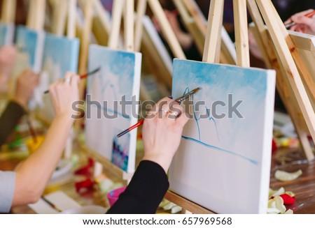 painting at art school. #657969568