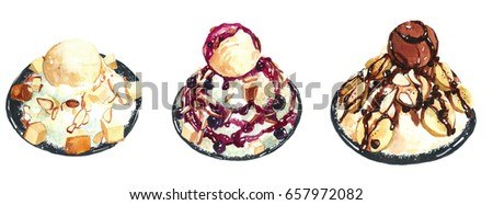 Ice cream Bingsu Cold Sweet Beverage Illustration Watercolor Painting #657972082