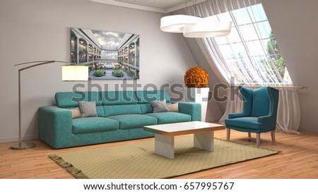 Interior living room. 3d illustration #657995767