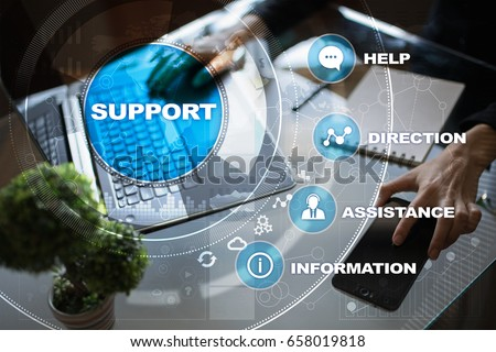 Technical support. Customer help. Business and technology concept. Royalty-Free Stock Photo #658019818