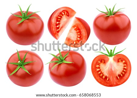 Tomatoes isolated. Fresh cut tomato set isolated on white background with clipping path #658068553