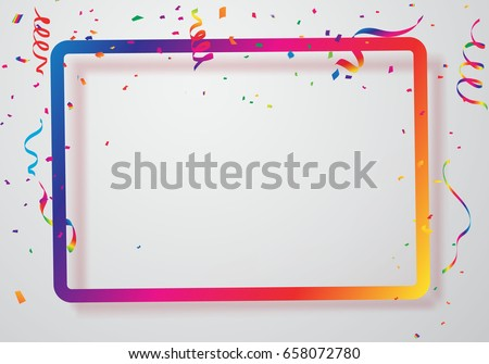 Celebration background frame template with confetti and Colorful ribbons. Vector illustration Royalty-Free Stock Photo #658072780