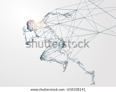 Running Man,Network connection turned into, vector illustration. Royalty-Free Stock Photo #658108141
