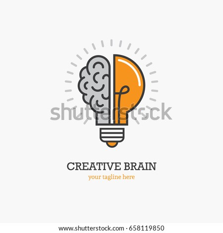 Logo with a half of light bulb and brain isolated on white background. Symbol of creativity, creative idea, mind, thinking. Royalty-Free Stock Photo #658119850