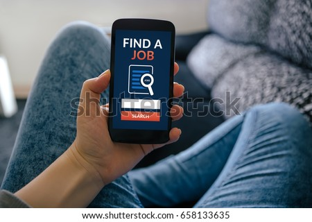 Girl holding smart phone with find a job concept on screen. All screen content is designed by me
