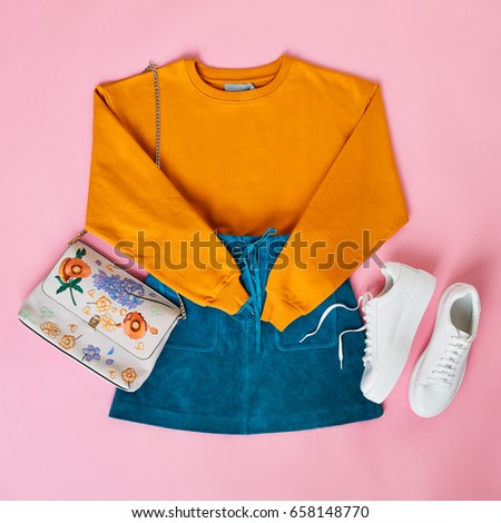 Flat Lay Shot Of Female Parisian Style Clothing And Accessories #658148770