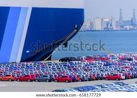 Cars Export Terminal at Daikoku wharf, Yokohama, Japan #658177729