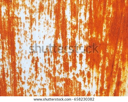 Rusted white painted metal wall. Rusty metal background with streaks of rust. Rust stains. Rust texture. #658230382