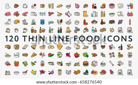Big Set of 120 Colored Thin Line Stroke Food Icons. Meat, milk, seafood, pasta, soup, bread, egg, cake, sweets, fruits, vegetables, drinks, nutrition, pizza, sauce, cheese, butter, pie, nuts, snacks. Royalty-Free Stock Photo #658276540