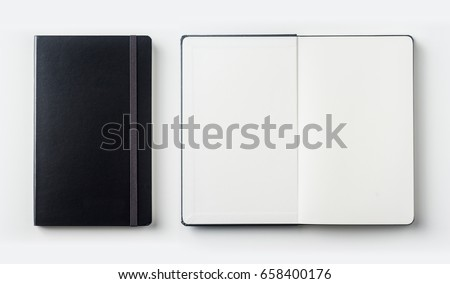 Business concept - Top view collection of black notebook on white background desk for mockup Royalty-Free Stock Photo #658400176