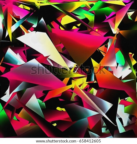 Illustration abstract colorful fantasy, multicolored chaotic triangle geometric background paint smears on textured paper #658412605