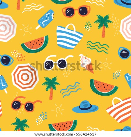 Colorful seamless summer pattern with hand drawn beach elements such as sunglasses, palm, watermelon slice, tote bag, umbrella, ice cream, waves, sand. Fashion print design, vector illustration Royalty-Free Stock Photo #658424617