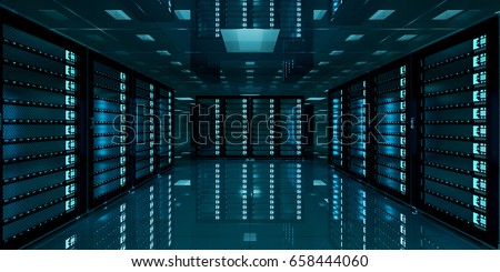 Dark server room data center storage with blue lights 3D rendering Royalty-Free Stock Photo #658444060