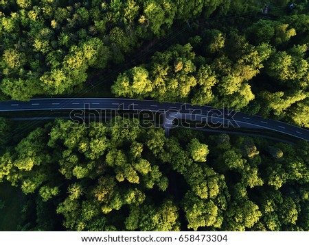 Top view of the path through the trees. View from balloon. Road view from above taken by quadrocopter #658473304