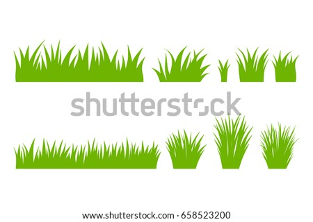 Vector green grass: natural, organic, bio, eco label and shape on white background. Royalty-Free Stock Photo #658523200