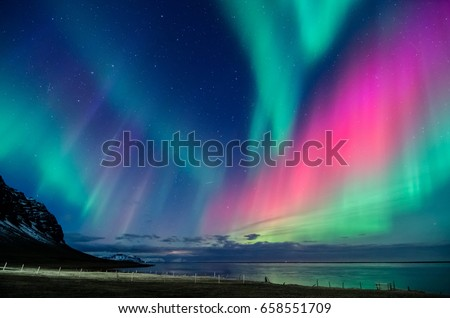 colorful northern light in iceland #658551709