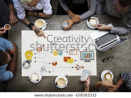 Team meeting and discussion with ideas and creative icon graphic design #658583332
