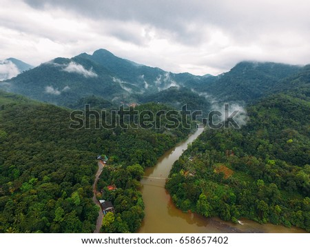 Aeral View on Ramboda falls and valley, Sri Lanka. #658657402