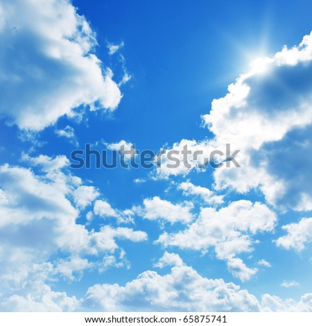 Blue sky with clouds and sun. #65875741