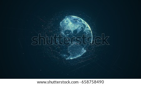 Digital data globe - abstract illustration of a scientific technology data network surrounding planet earth conveying connectivity, complexity and data flood of modern digital age #658758490
